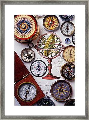 Compasses And Globe Illustration Framed Print