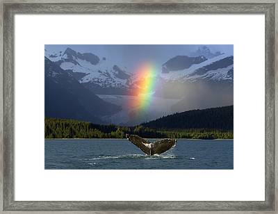 Composite Bright Rainbow Appears Over Framed Print by John Hyde