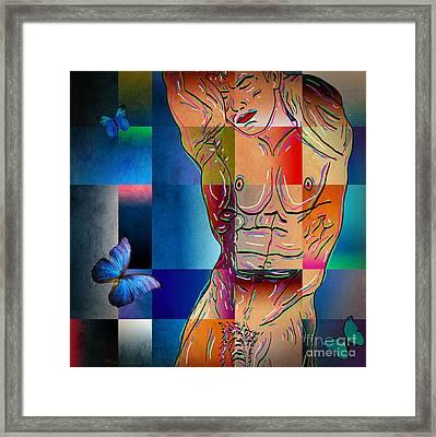 Composition In Blue Framed Print