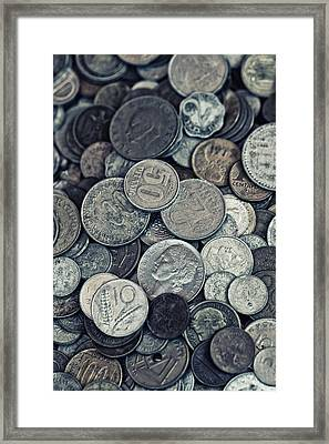 Composition With Old Rusty Coins Framed Print by Jaroslaw Blaminsky