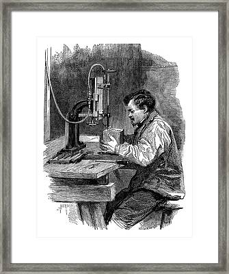 Compressed Air Engraving Framed Print by Science Photo Library