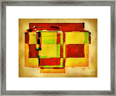Compsiton In Sepia Browns And Green Framed Print