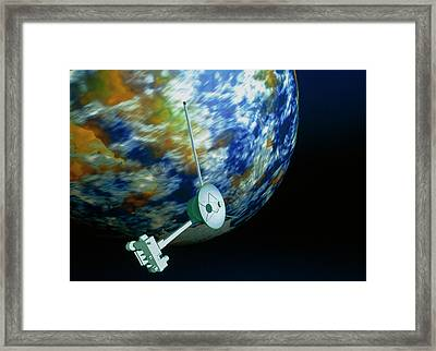 Computer Art Of Voyager Spacecraft Passing Planet Framed Print by Mehau Kulyk/science Photo Library