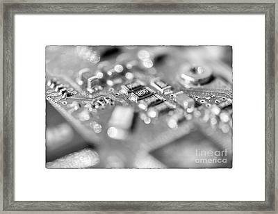 Computer Board High Key Black And White Framed Print by Iris Richardson