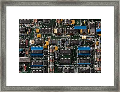 Computer Circuit Board Framed Print by Jim Corwin