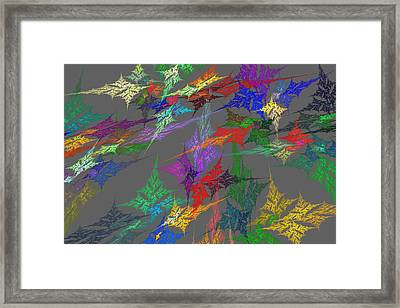 Computer Generated Abstract Fractal Flame With Gray Background Framed Print by Keith Webber Jr