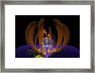 Computer Generated Art Digital Fractal Abstract Orange Blue Black Framed Print