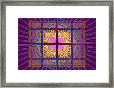 Computer Generated Fractal Squares Geometric Pattern Framed Print