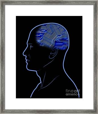 Computer In Head Framed Print