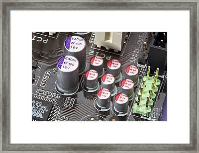 Computer Motherboard Capacitors Framed Print