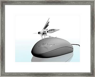 Computer Mouse With Nano Bug Framed Print