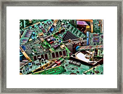 Framed Print featuring the photograph Computer Parts by Olivier Le Queinec