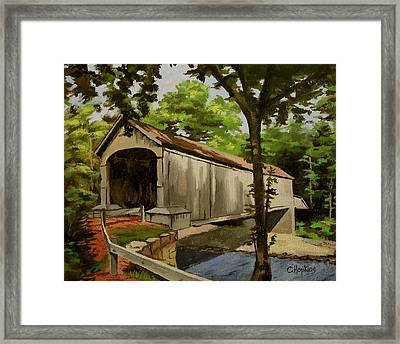 Comstock Covered Bridge East Hamptom Connecticut Framed Print by Christine Hopkins