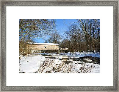 Comstock Covered Bridge In Winter. Framed Print by Diane Diederich