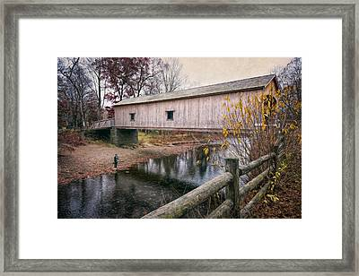 Comstock Covered Bridge Framed Print by Joan Carroll