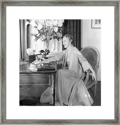 Comtesse Jean De Polignac At Her Desk Framed Print by Horst P. Horst