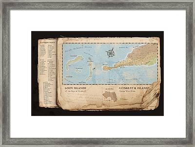 Conakry Map Framed Print by Dave Kobrenski