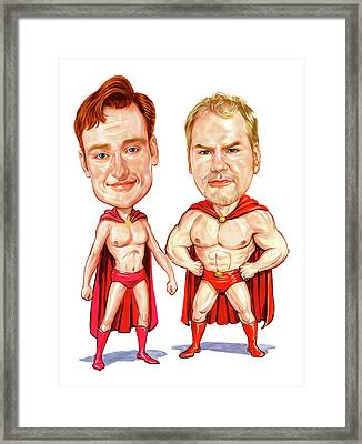 Conan  O'brien And Jim Gaffigan As Pale Force Framed Print