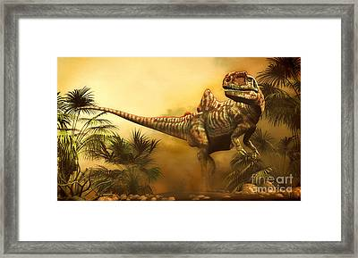 Concavenator Was A Theropod Dinosaur Framed Print by Philip Brownlow