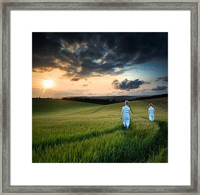 Concept Landscape Young Boys Walking Through Field At Sunset In  Framed Print by Matthew Gibson