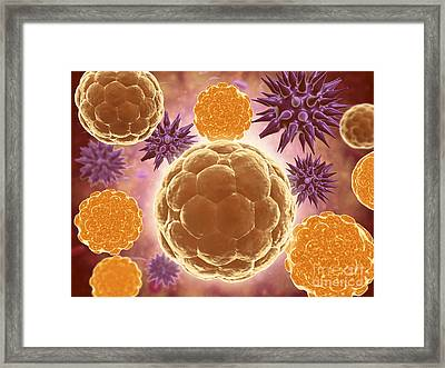 Conceptual Image Of A Ubiquitous Virus Framed Print