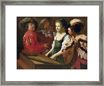 Concert, 1626 Oil On Canvas Framed Print by Hendrick Ter Brugghen