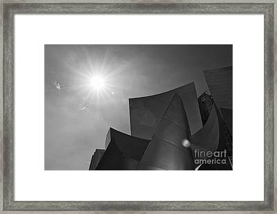 Concert Flare - Walt Disney Concert Hall From Downtown Los Angeles In Black And White Framed Print by Jamie Pham