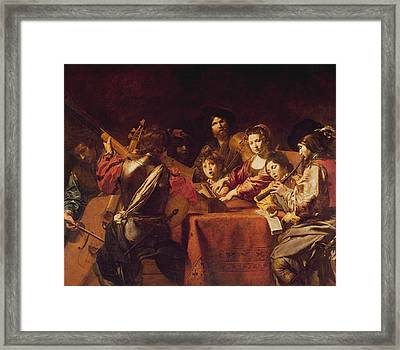Concert With Eight People Framed Print by Valentin de Boulogne