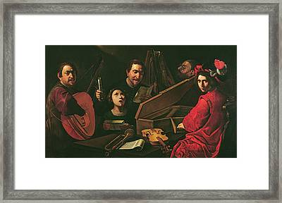 Concert With Musicians And Singers, C.1625 Oil On Canvas Framed Print by Pietro Paolini