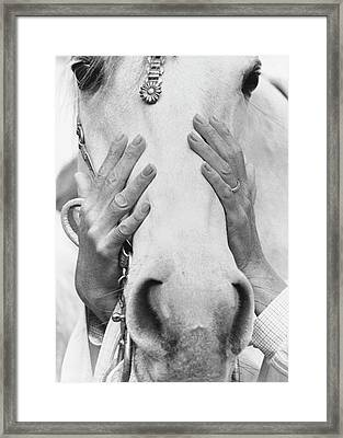 Conchita Cintron Holding The Head Of A Horse Framed Print by Henry Clarke