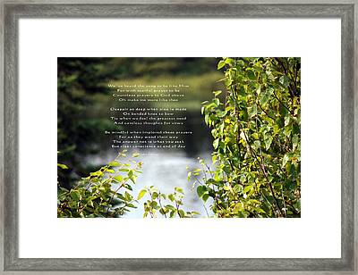 Concience Framed Print by Kathy J Snow