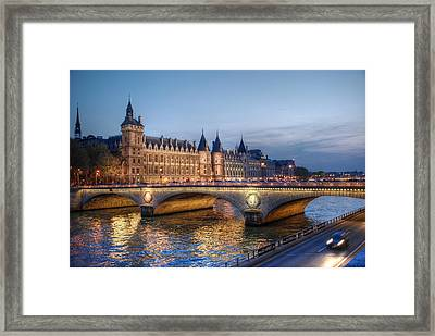 Conciergerie And Pont Napoleon At Twilight Framed Print by Jennifer Ancker