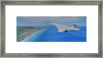 Concorde Over Barbados Framed Print by Elaine Jones