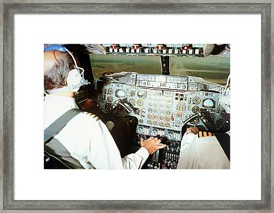 Concorde Pilots In Cockpit Framed Print by Us National Archives
