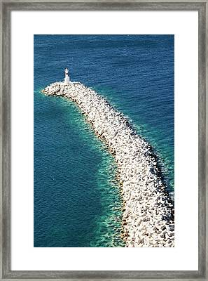 Concrete Breakwater Framed Print by Ashley Cooper