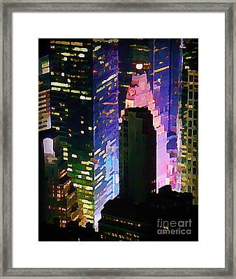 Concrete Canyons Of Manhattan At Night  Framed Print by John Malone