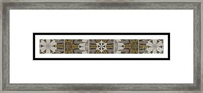 Concrete Flowers - Kaleidoscope - Pentaptych Framed Print by Barbara Griffin