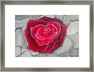 Framed Print featuring the painting Concrete Rose by Marisela Mungia