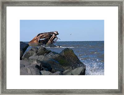 Framed Print featuring the photograph Concrete Ship by Greg Graham