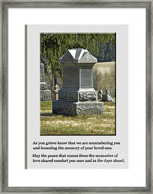 Condolence Photo Greeting Card Framed Print