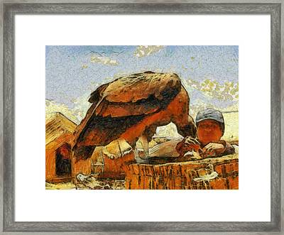 Condor Bird And Man Framed Print by Georgi Dimitrov