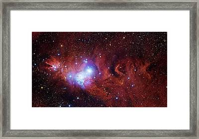 Cone Nebula And Christmas Tree Cluster Framed Print