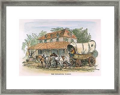 Conestoga Wagon, 19th C Framed Print