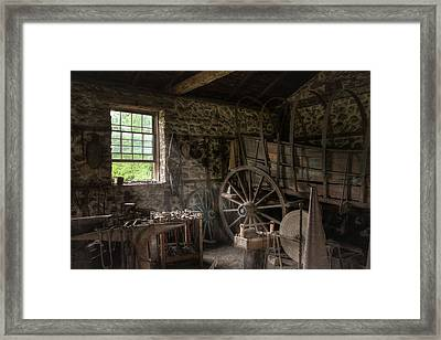 Framed Print featuring the photograph Conestoga Wagon At The Blacksmith - Wagon Repair by Gary Heller