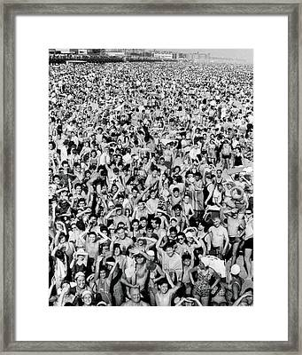 Coney Island - Beach Crowd Framed Print by MMG Archives