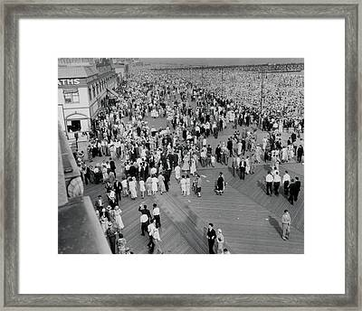Coney Island - Boardwalk And Beach Framed Print by MMG Archives