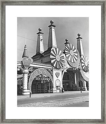 Coney Island - Luna Park Entrance Framed Print by MMG Archives