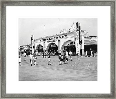 Coney Island - Steeplechase Park And Boardwalk Framed Print by MMG Archives