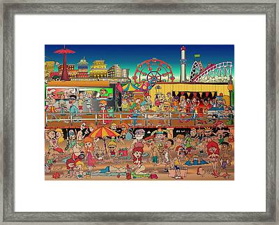 Coney Island Boardwalk Framed Print by Paul Calabrese