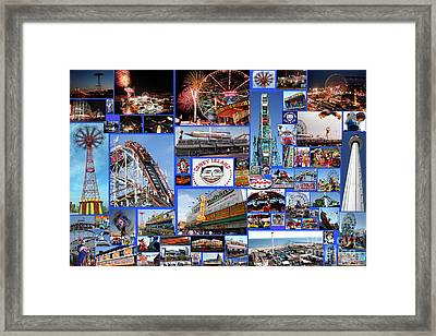 Framed Print featuring the photograph Coney Island Collage by Steven Spak